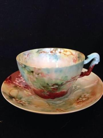 Lovely Limoges t& v handpainted tea Cup and saucer. Cup is 2 1/4 in high and 3 1/4 in across. Saucer is 5 3/4 in across. Excellent condition Posted with eBay Mobile Posted with eBay Mobile