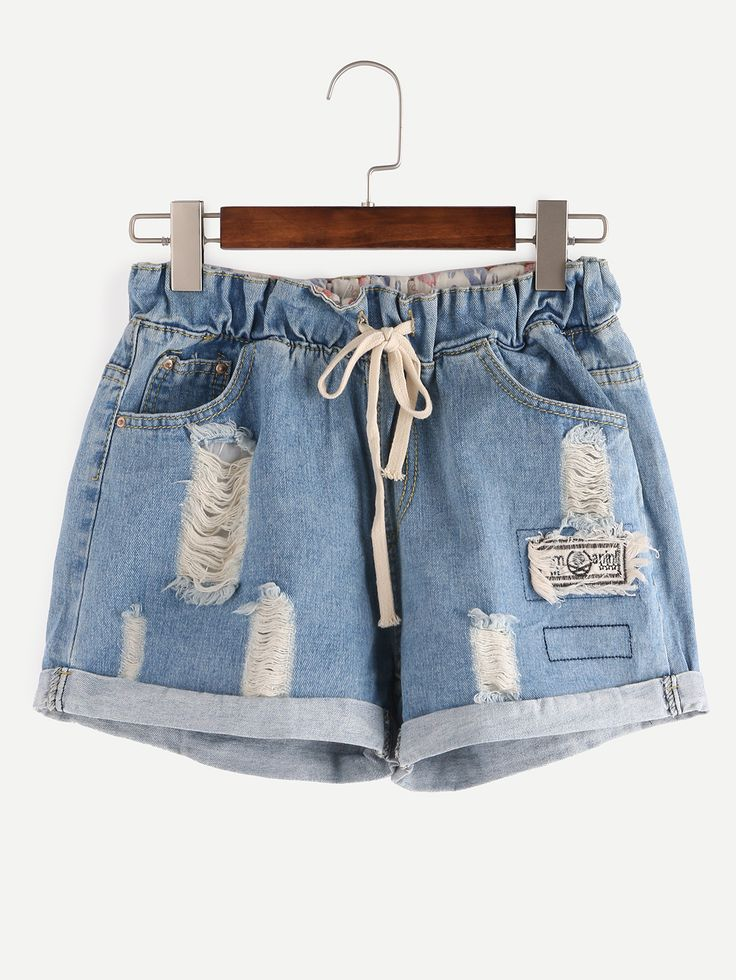 Shop Ripped Drawstring Waist Rolled Hem Blue Denim Shorts online. SheIn offers Ripped Drawstring Waist Rolled Hem Blue Denim Shorts & more to fit your fashionable needs.