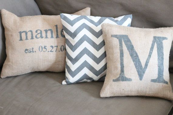 Personalized Burlap Pillow cover  Initial Pillow by IronGateHome, $18.00