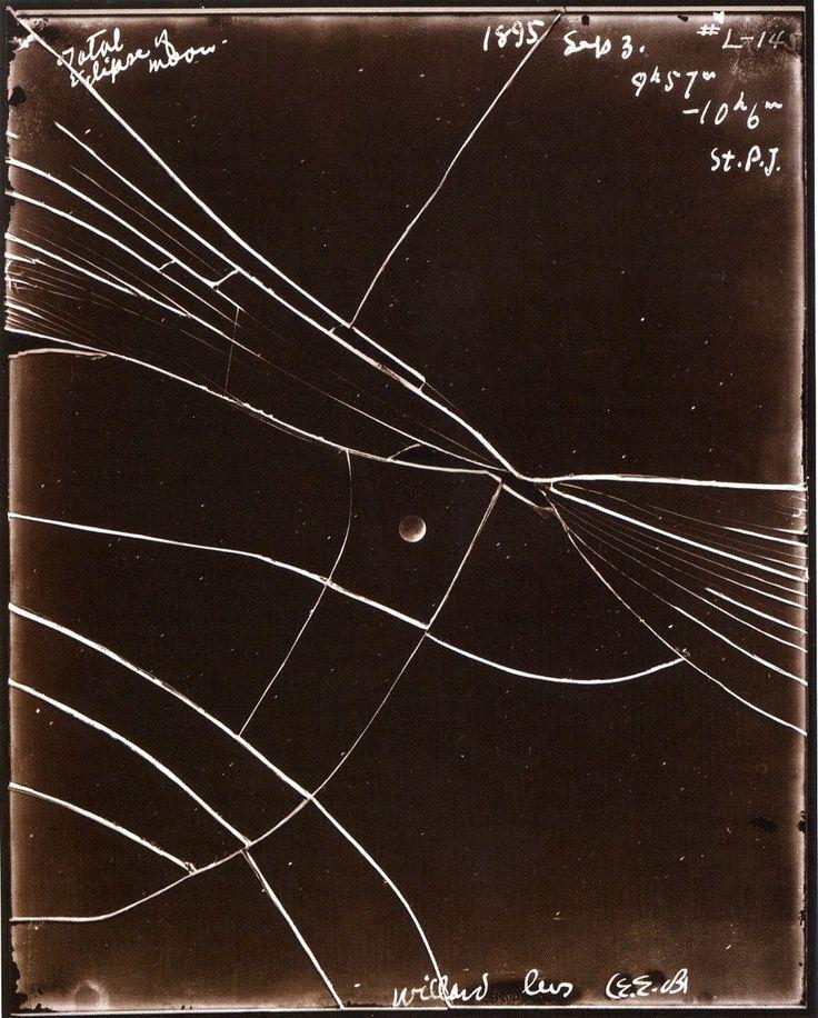 Linda Connor. Broken glass plate negative of lunar eclipse. September 3, 1895.