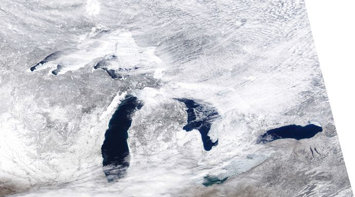 Warmer Temps And Wind Decrease Great Lakes Ice Coverage