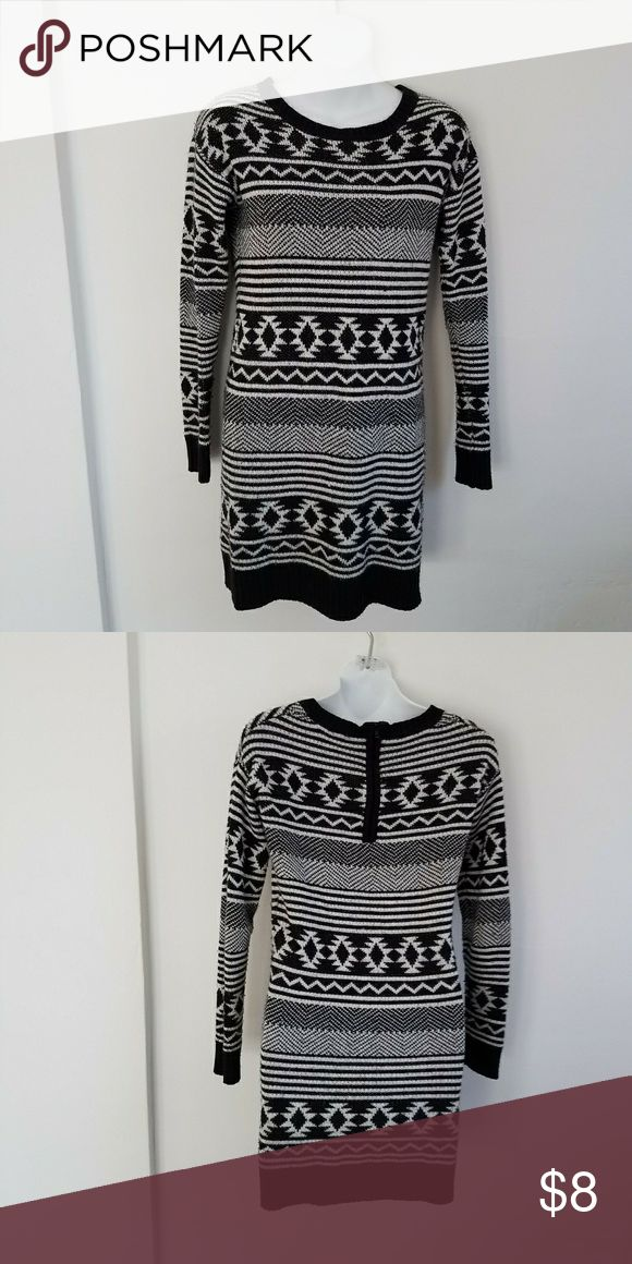 Black & White Tribal Print Sweater Dress Black & White Tribal Print Sweater Dress  🔰Size Small  🔰 Warm, think material  🔰Good, preloved condition--minor pilling but no stains or holes  🔰Pairs perfectly with boots and leggings Dresses