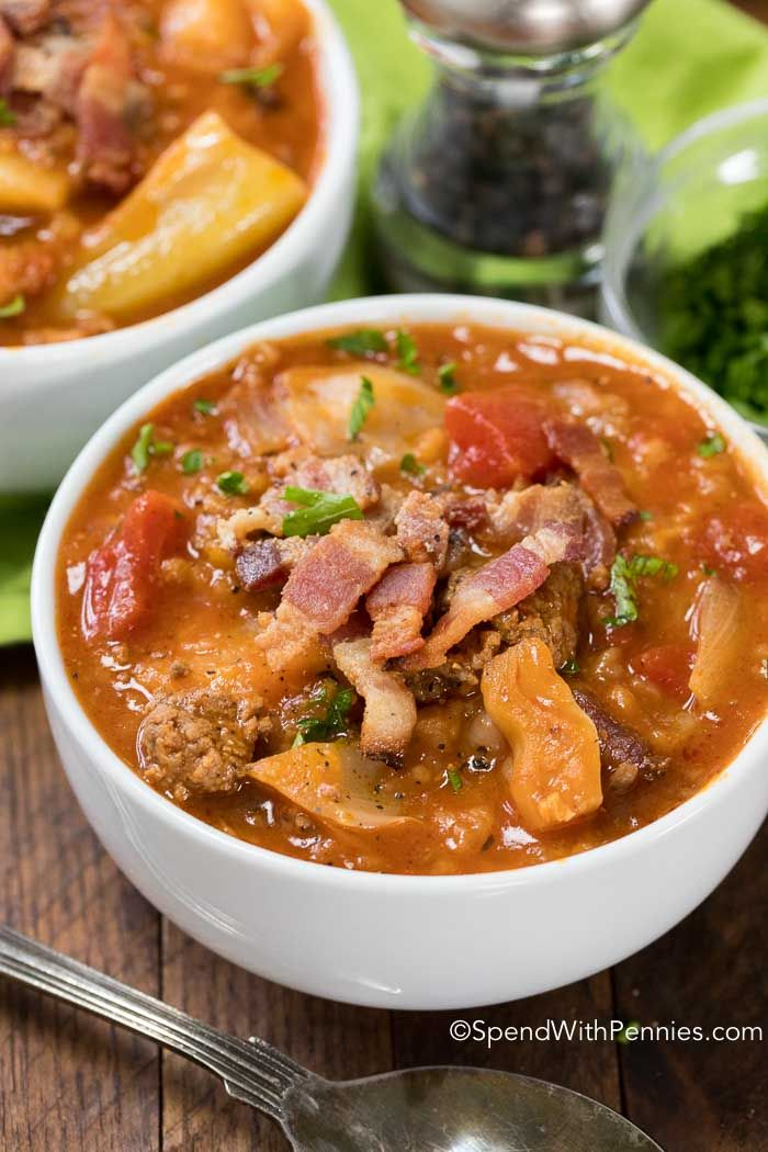 Crock Pot Cabbage Roll Soup! Cabbage, onion, beef and bacon all tenderly prepared in a rich beef and tomato broth, slowly simmered in your crock pot. This creates a nutritious and tasty soup that will warm your belly from the inside out!