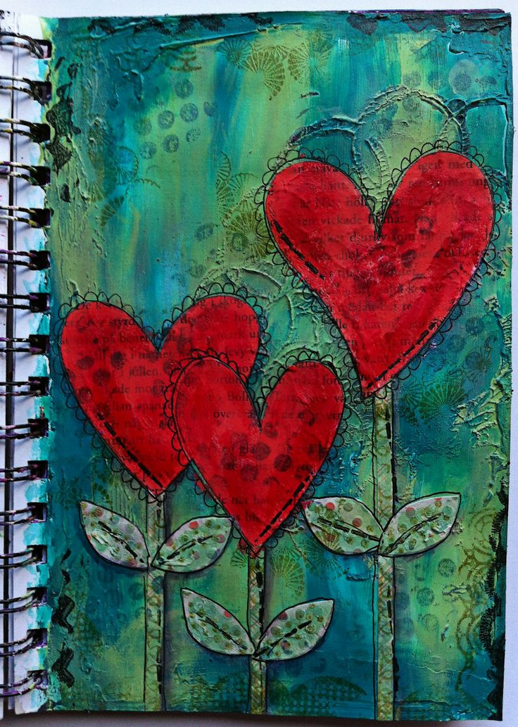 Mixed media, art journal. {Love these colors.}