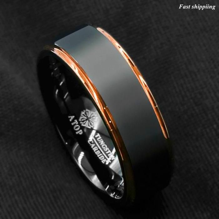 Mens Engagement Wedding Band Ring Tungsten Carbide Bling Jewellery