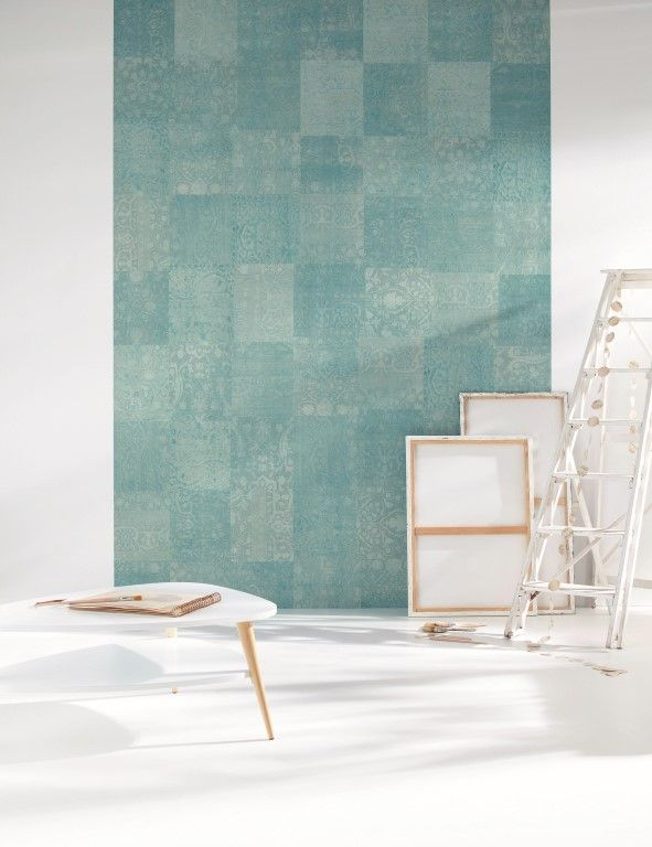 In soft shades of teal, this wallpaper mural cleverly resembles a patchwork floor rug. From the Trendy Panels collection, Patchwork TDP63716003. This is a Guthrie Bowron exclusive range in NZ