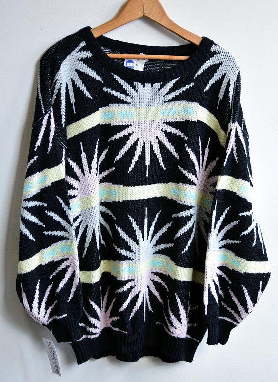 b89792addd8a74 80s Sweater | 1980s Vintage Geometric Knit Top. Long Sleeves Women's, Girls  Retro Top. Spring Summer Colors. Black, Pink, Yellow. Sunburst