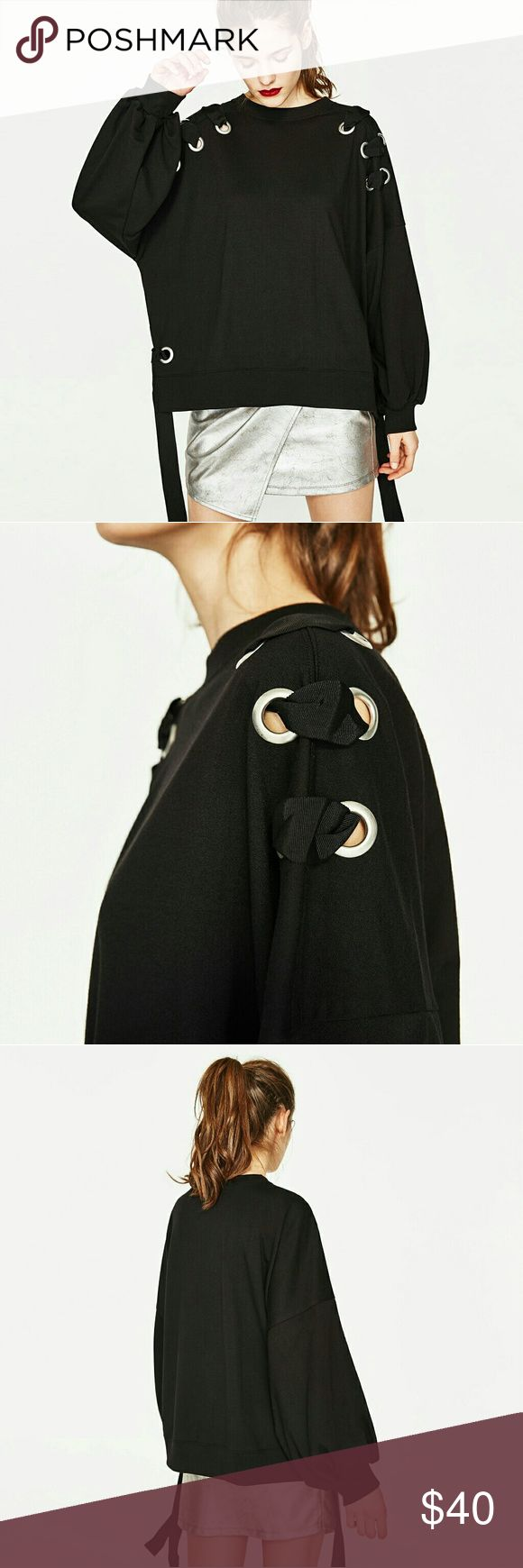 Zara sweatshirt with eyelets ?No trade. Price is firm.  ??3+ listing for 15% off.  ??see more pics on IG @shopjanes_closet.  ??Details: Brand new with tag. Already sold out on Zara site. Zara Tops Sweatshirts & Hoodies