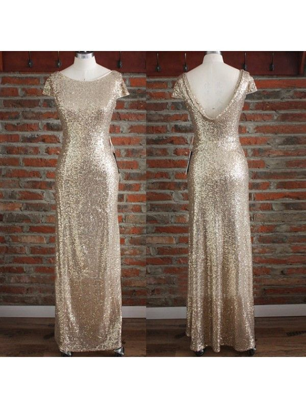 gold bridesmaid dress,Long bridesmaid dress,sequin bridesmaid dress,sparkle bridesmaid dress,BD822