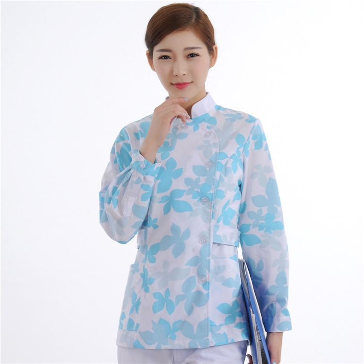 New Women Medical Scrub Sets Nurse Hospital Uniforms Dental Clinic Beauty Salon Long Sleeve Flower Printing Medical Clothes #Affiliate