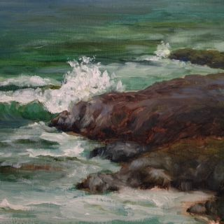 Waves crashing on N. California beach. Original oil by Christine de Faymoreau.