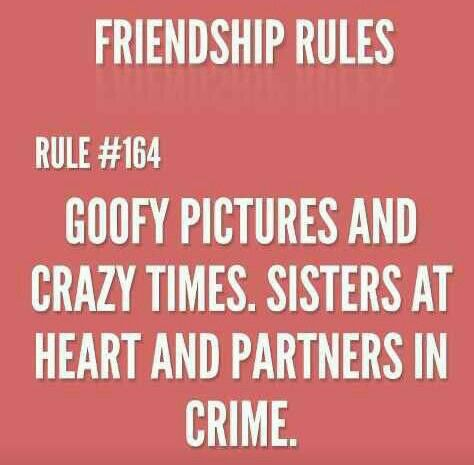 Friendship rules #164:  goofy pictures & crazy times ....sisters at heart & partners in crime.