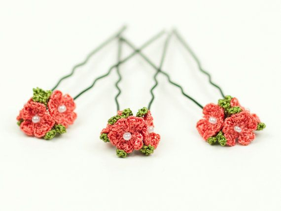 Hey, I found this really awesome Etsy listing at https://www.etsy.com/listing/185661000/coral-red-flower-hair-pins-set-of-three