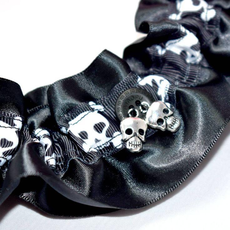 Rockabilly Wedding Ideas: CLEARANCE Goth Skull Black Bridal Garter Rockabilly Retro