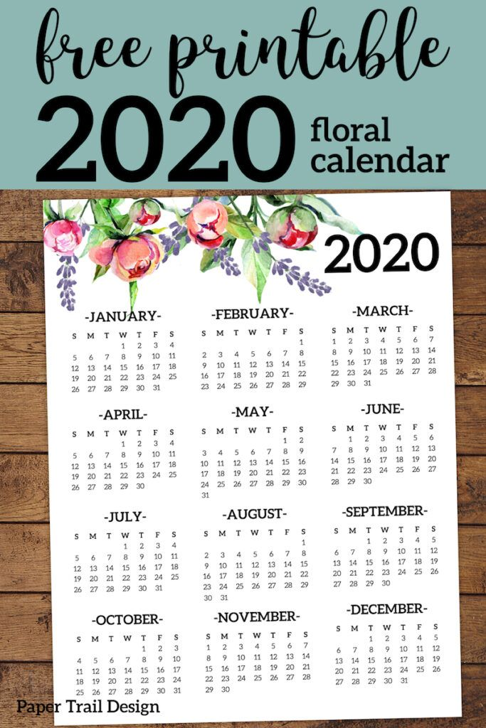Free Printable 2020 Calendar Yearly One Page Floral Paper Trail Design Planner Printables Free Free Printables Yearly Calendar