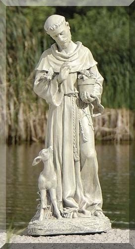 Saint Francis With Fawn Garden Statue Tall. Francis Is The Patron Saint Of  Animals And The Environment. He Was Found In The Garden Amongst The Birds  And