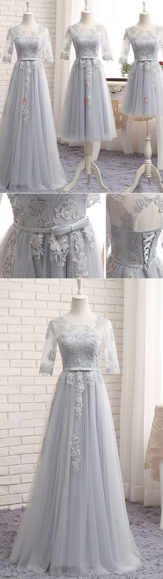 gray tulle lace long prom dress, gray bridesmaid dress, gray tulle lace long wedding party dress