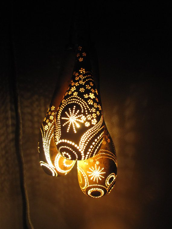 Dremel Gourd Patterns | Hanging 3 Pendant Gourd Lantern has 12' cord with switch