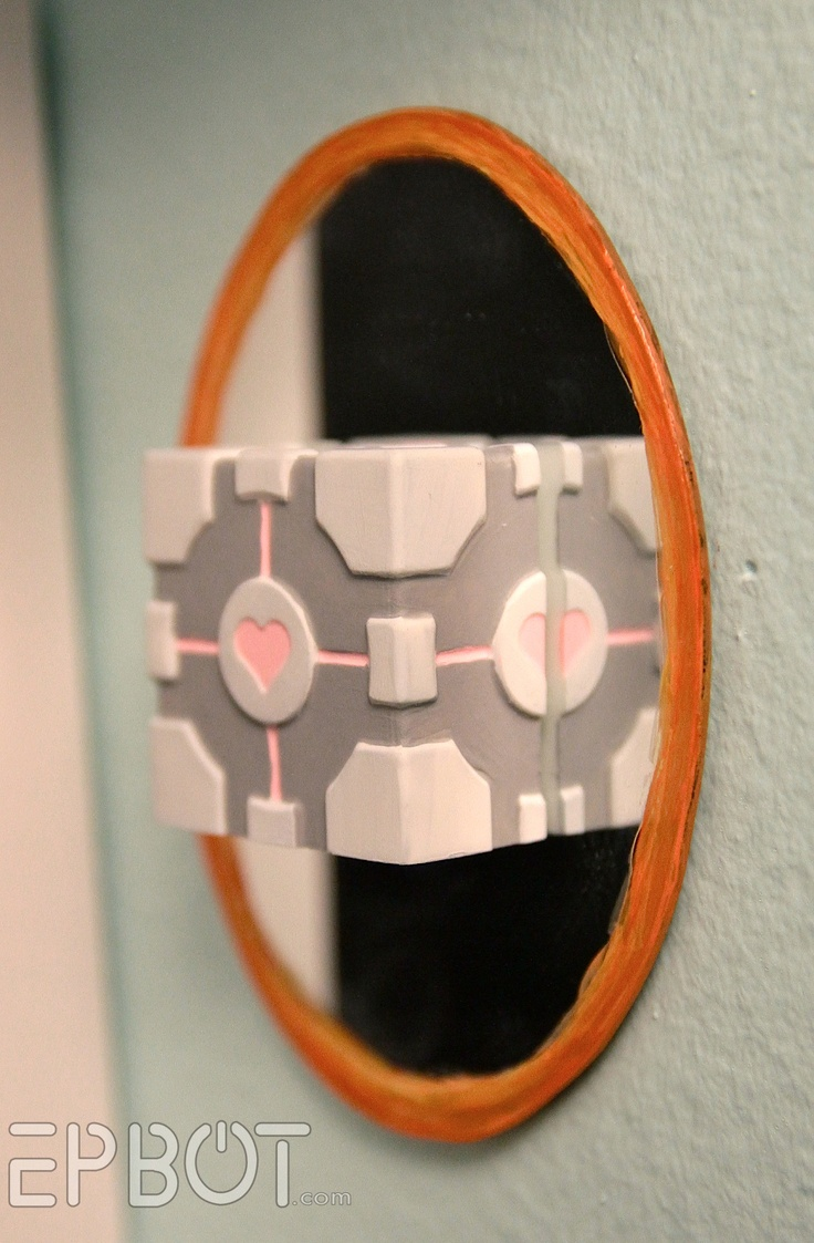 DIY Mini Wall Portals & Companion Cubes (made using the ThinkGeek ice cube tray, resin, & craft mirrors)