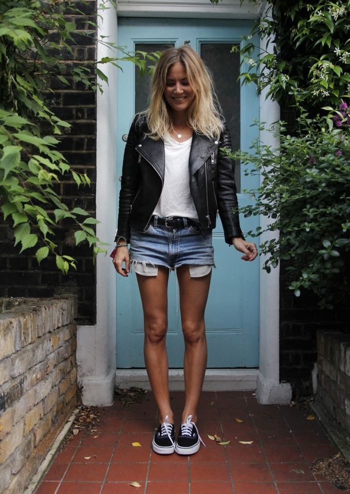 Leather biker + white tshirt + denim shorts + vans = perfect cool outfit