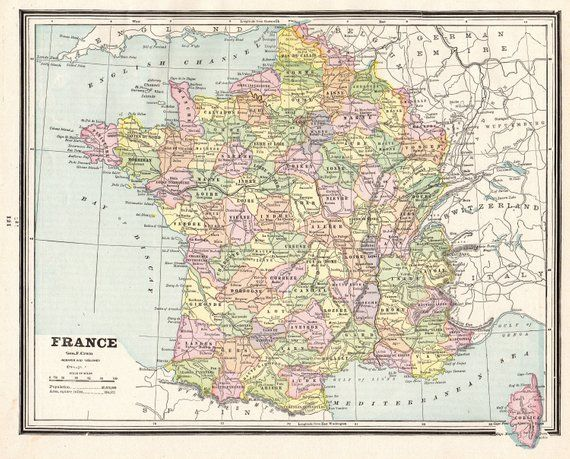1901 Antique France Map Vintage Original Map Of France Gallery Etsy France Map World Map Decor Art Gallery Wall