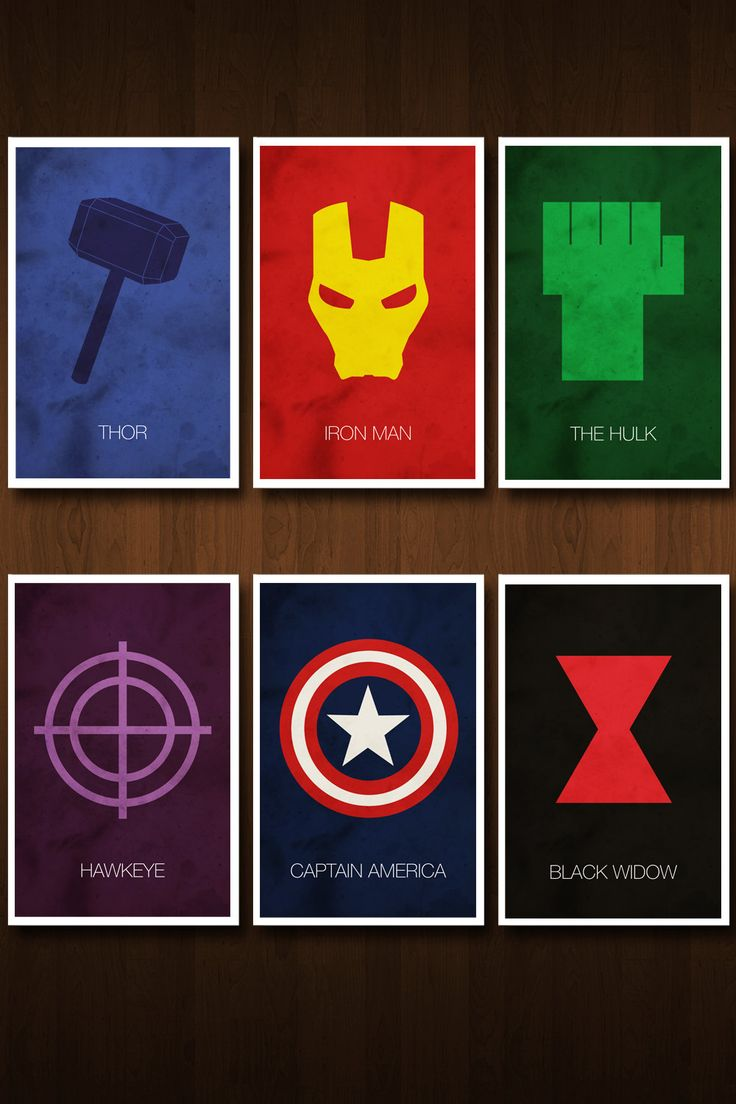 Set of Six Avengers Character Art Prints - Posters Inspired by the Comic Book and Film 'The Avengers'