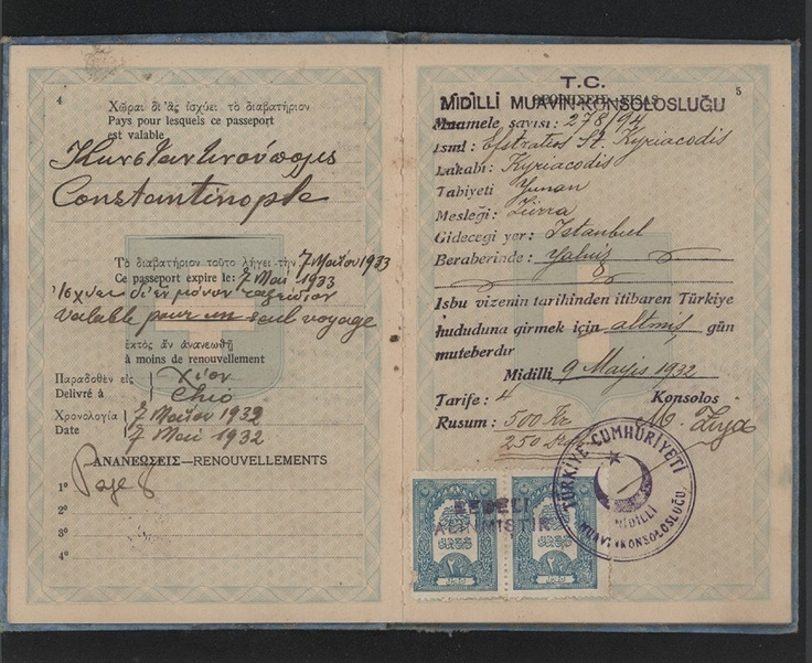 1932 -33 Greek Passport for Efstratios Kyriacodis.
