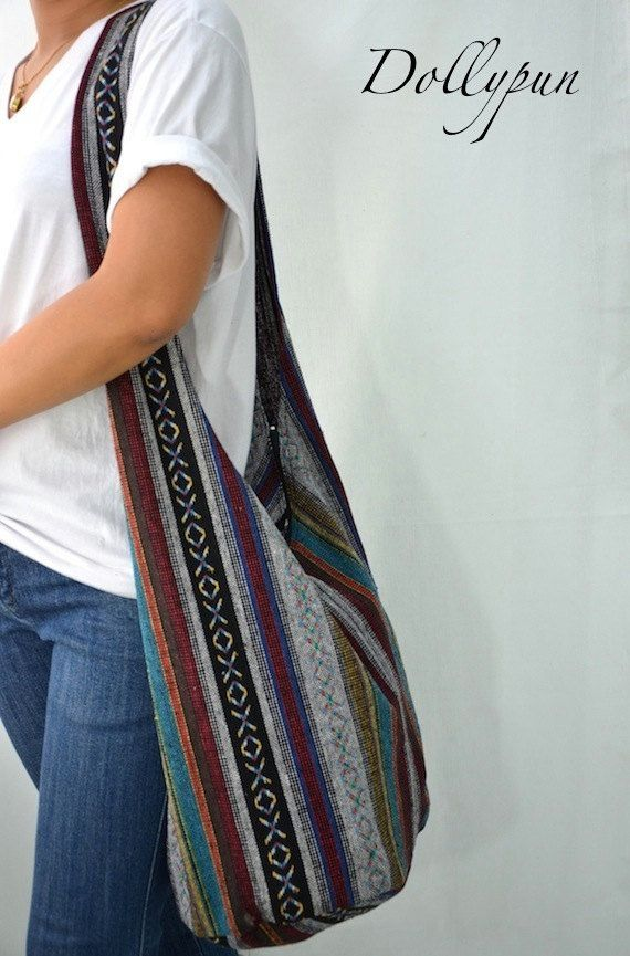 Woven Sling Bag Ethnic Boho Bag Hobo Bag Hippie Bag by Dollypun