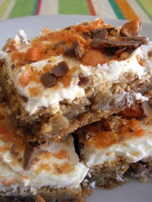 Butterfinger Blondies from SixSistersStuff.com Recipe Dessert butter, light brown sugar, sugar, vanilla,