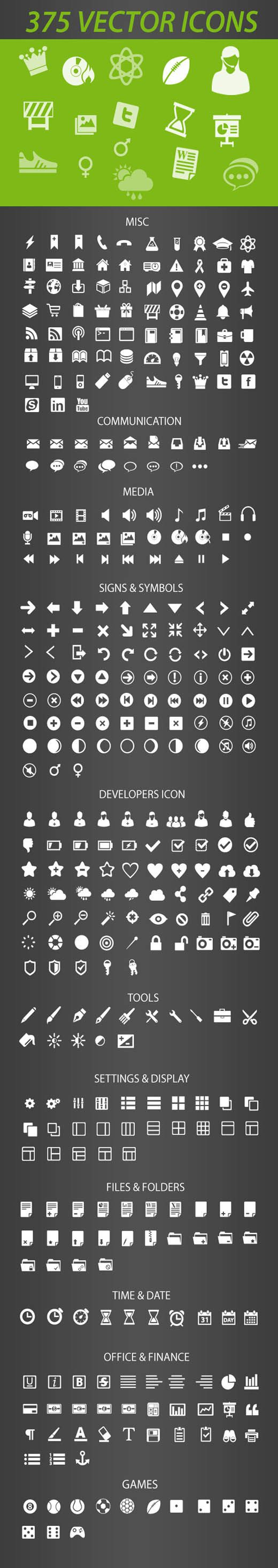 Free Icon Pack 375 Retina-Display-Ready Icons - Free Vector Site | Download Free Vector Art, Graphics