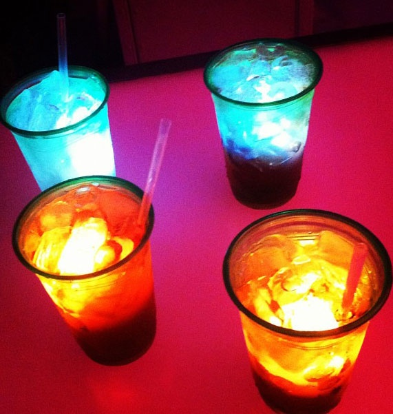 glowing cubes in cocktails