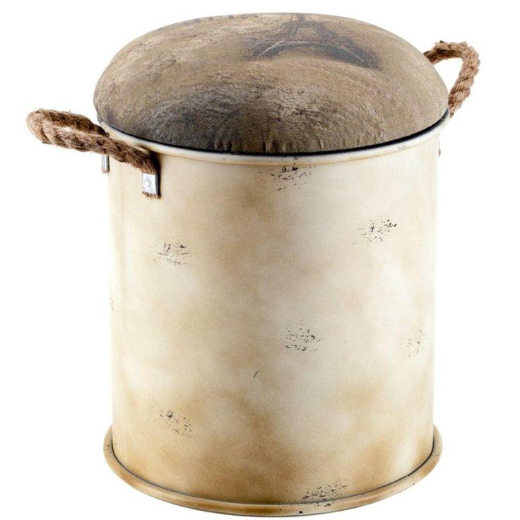 Oryginalna pufa LAMALI firmy ALURO, dzięki zdejmowanemu siedzisku może posłużyć jako schowek na drobiazgi - NieMaJakwDomu