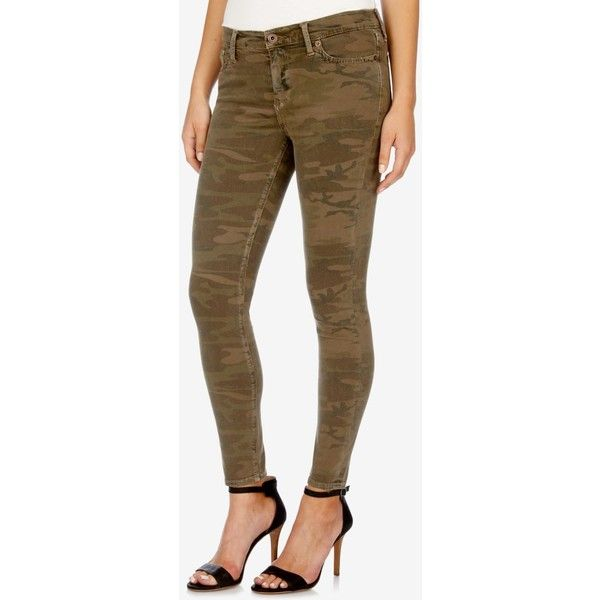Lucky Brand Brooke Skinny Jeans ($60) ❤ liked on Polyvore featuring jeans, jagged camo, camouflage jeans, cut skinny jeans, lucky brand jeans, camoflage jeans and skinny leg jeans