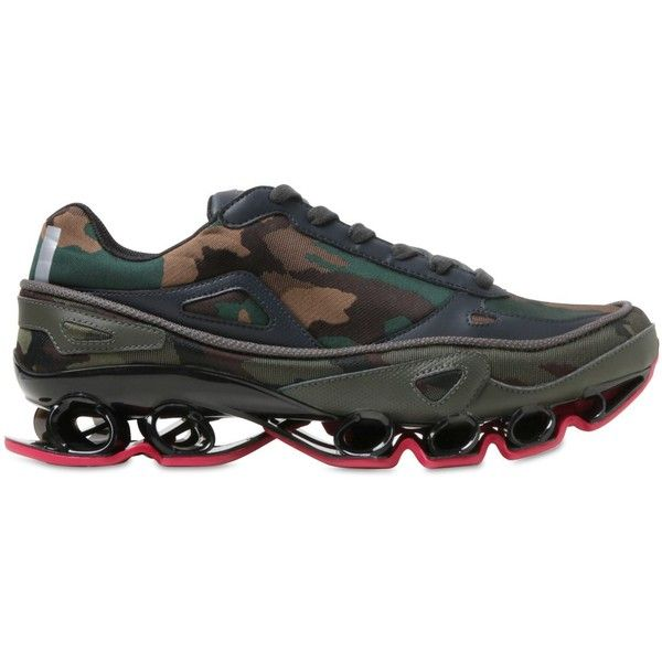 ADIDAS BY RAF SIMONS Bounce Camouflage Jacquard Sneakers ($245) ❤ liked on Polyvore featuring men's fashion, men's shoes, men's sneakers, camouflage, mens camo shoes, adidas mens sneakers, adidas mens shoes and mens camo sneakers