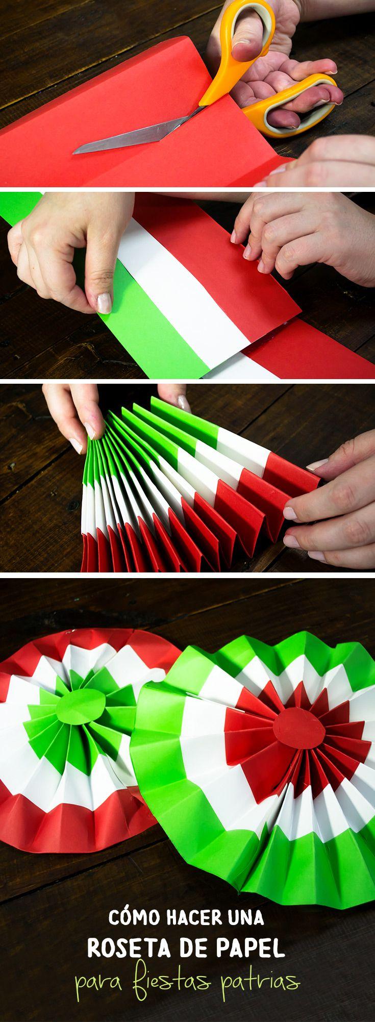 Decora tu casa con esta roseta de papel para fiestas patrias. Puedes colgarlas en la pared o colocarlas sobre una mesa de dulces.