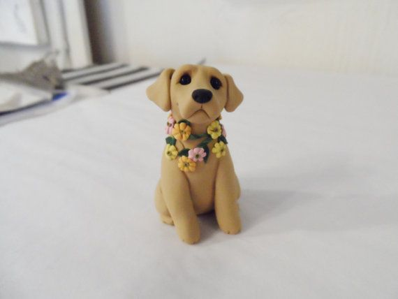 Springtime Yellow Labrador Retriever Figurine Hand Sculpted polymer clay by Raquel at the WRC