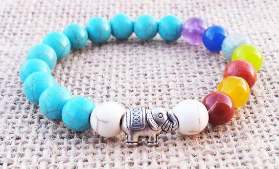 Spiritual Elephant Bracelet Chakra Bracelet & by BohemianChicbead