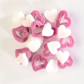 WHITE AND DARK PINK SUGAR HEARTS (BAKE A CAKE), 60G
