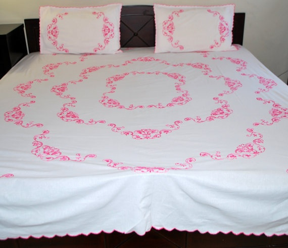 Items Similar To Floral Light Pink Fully Hand Embroidered Pure Cotton Flat Bed  Sheet With 2 Pillow Covers.