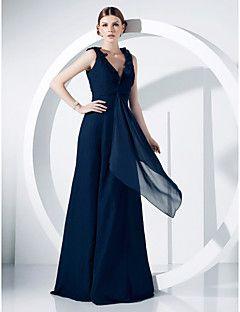TS+Couture®+Formal+Evening+/+Military+Ball+Dress+-+Elegant+Plus+Size+/+Petite+A-line+/+Princess+V-neck+Floor-length+Chiffon+withDraping+/+Ruffles++–+USD+$+79.99