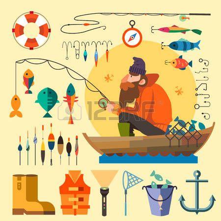 âncora: Pescador em um barco de pesca: ganchos de pesca vara de barco �ncora isca de peixe cadeia barba �gua b�ssola. Vector planas ilustra��es