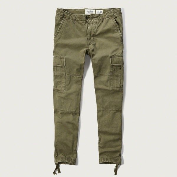Abercrombie & Fitch Slim Straight Cargo Chinos ($88) ❤ liked on Polyvore featuring men's fashion, men's clothing, men's pants, men's casual pants, olive, mens slim fit pants, mens slim pants, mens slim fit cargo pants, mens chino pants and mens 5 pocket pants