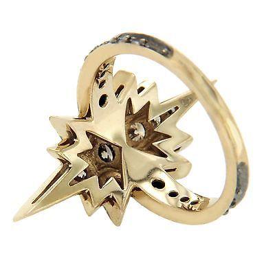 Authentic H STERN 18k Gold Champagne Diamonds Genesis Star Ring Size 6 » U24