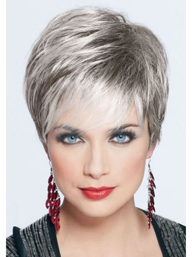 7 Inches Straight Cropped Monofilament Grey Women Wigs Synthetics