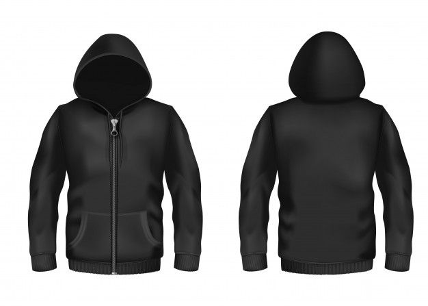 Download Realistic Black Hoodie With Zipper With Long Sleeves And Pockets Casual Unisex Model For Free Hoodie Template Black Hoodie Template Hoodie Vector