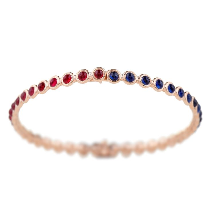 18K pink gold bracelet with cabochon-cut Rubies  and Sapphires  www.lito-jewelry.com