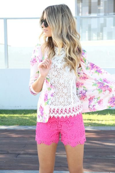 Pink lace shorts and jacket