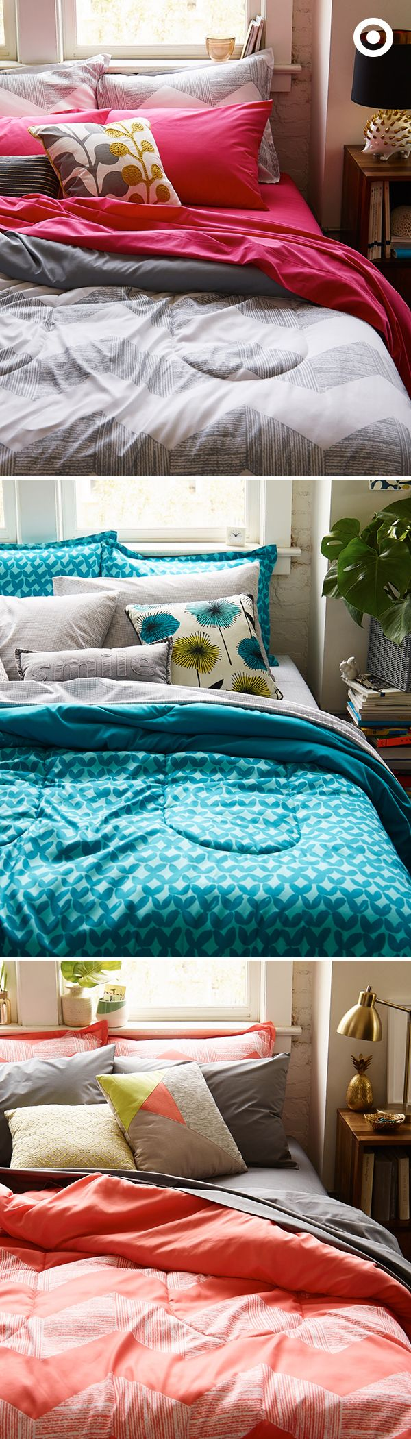 Bright bedding is just the thing to energize your bedroom. If you're new to the whole mix and match thing, limit your palette to no more than three colors and one neutral. But feel free to play with pattern, just keep it in a similar color palette.