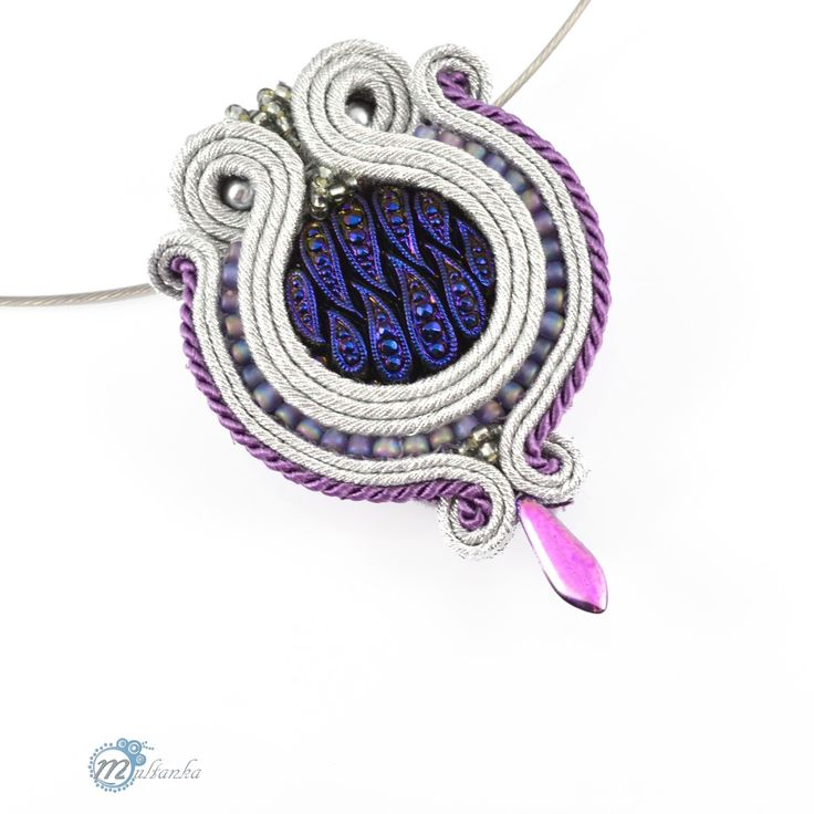 http://www.multanka.blogspot.com/search/label/ślubne Silver soutache pendant #wedding #pendant #artjewelry #soutache #multanka