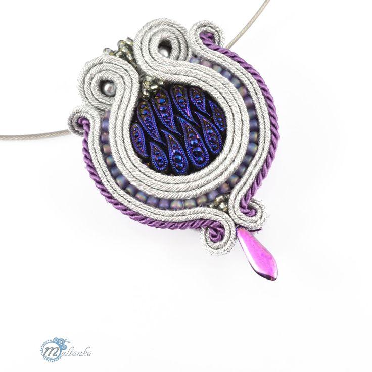 http://www.multanka.blogspot.com/search/label/ślubne Silver soutache pendant #wedding #pendant #artjewelry #soutache #multanka